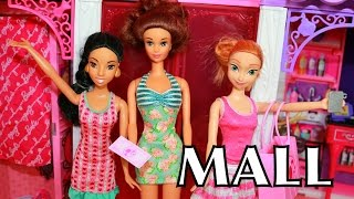 Barbie Mall Toy Review Frozen Elsa Anna Jasmine Disney Princess Monster High Doll Toys