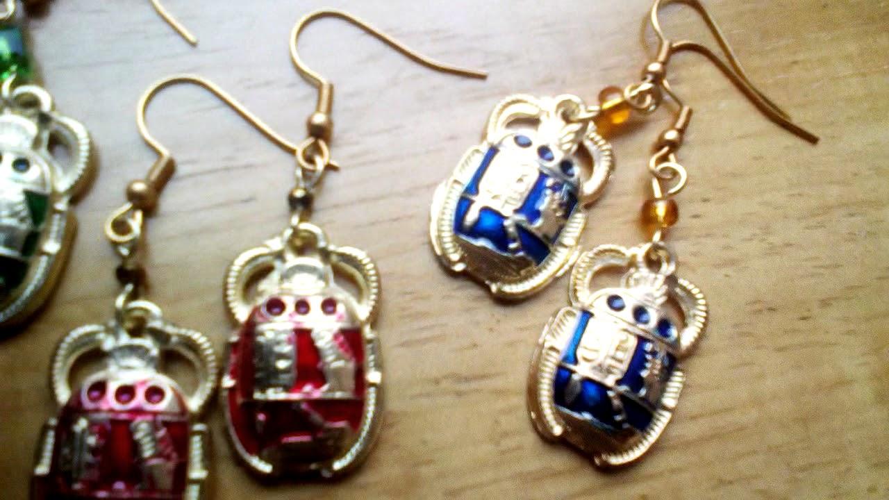 409d1fe5f471 Aretes de escarabajo Egipcio - YouTube