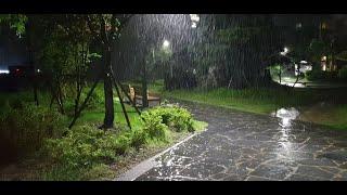 [8시간] 잔잔한 빗소리, 공원, 가로등 | Sound…