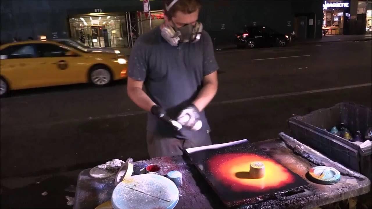 Spray Paint art .  Street Artist in New York City