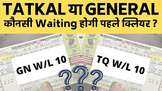 Tatkal Waiting vs General Waiting? Tatkal Extra Charges |Cancellation Charges |Confirmation Chances