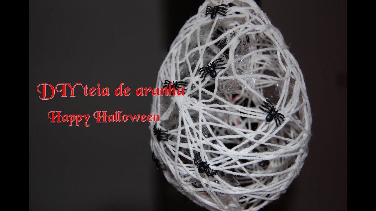 DIY Decoraç u00e3o para o Halloween Teia de Aranha #Halloween decor 8 YouTube -> Decoracao Para Mesa Halloween