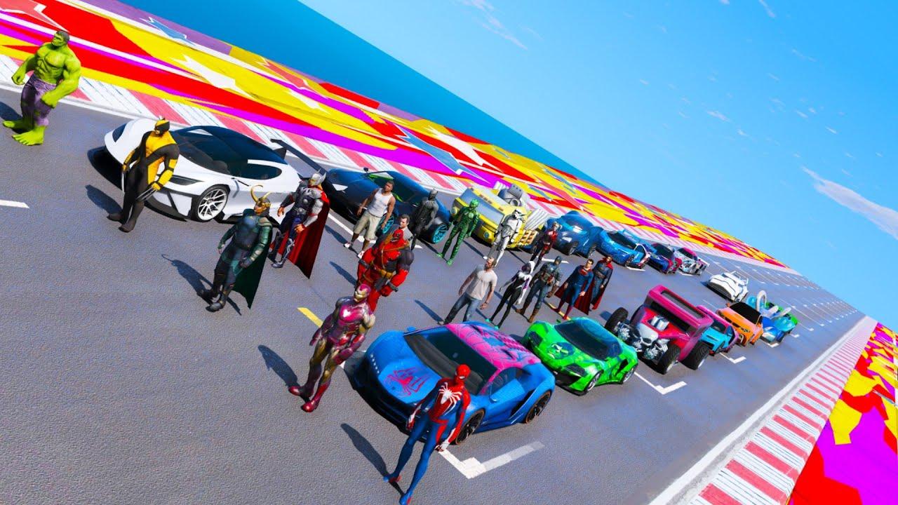 Spiderman and friends  on plane ramp challenge GTA V mods Girl-Spider Hot Wheels Spider-Car