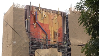 Guardians of the Galaxy - Mission: BREAKOUT! facade exposed at Disney California Adventure