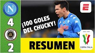 Napoli 4-2 Spezia. GOL del Chucky Lozano. ¡El mexicano llegó a 100 a nivel clubes! | Copa Italia