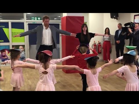 Cute Prince Harry Duke Of Sussex Dances With Ballerinas In Ballet Class During YMCA Visit