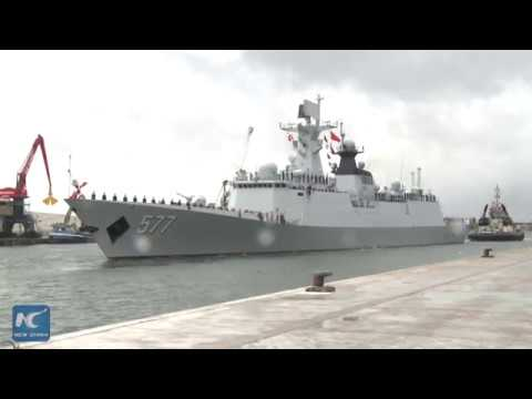 Chinese naval fleet visits Antwerp port in Belgium