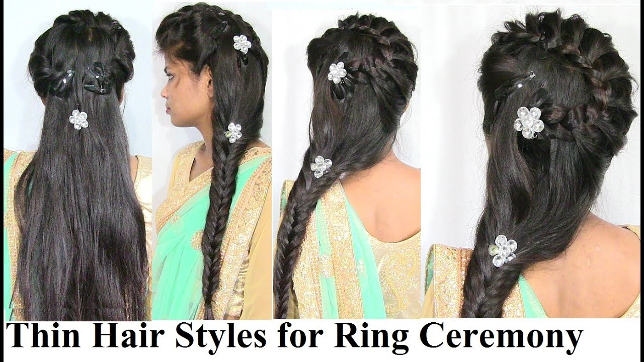 Hairstyles For Ring Ceremony Engagement Thin Long Hair Styles For