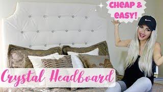 DIY Easy Tufted Headboard Hack For Cheap | $25 Crystal Tufted Bed // Lindsay Ann
