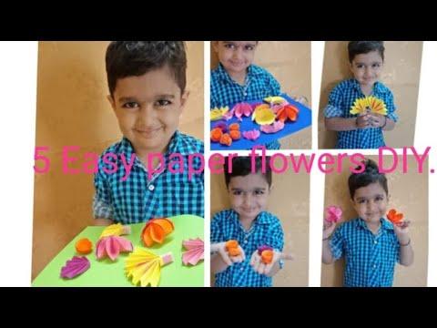easy diy craft paper flowers idea.. #craft with #aadvikgodara.
