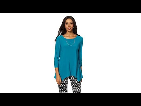 1c66e3833d68f Slinky Brand 2pk 3 4Sleeve Long HankyHem Knit Tunics - YouTube