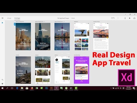 Real Design App Travel use Adobe XD CC 2017 from Zero to Finish