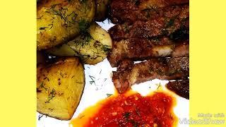 Свинина маринованная в духовке с картошкой..