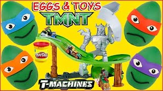 Teenage Mutant Ninja Turtles T-Machines Turtles Revenge Track + TMNT Play Doh Surprise Eggs