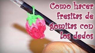 Repeat youtube video COMO HACER FRESITAS DE GOMITAS CON LOS DEDOS - DIY - STRAWBERRY RAINBOW LOOM