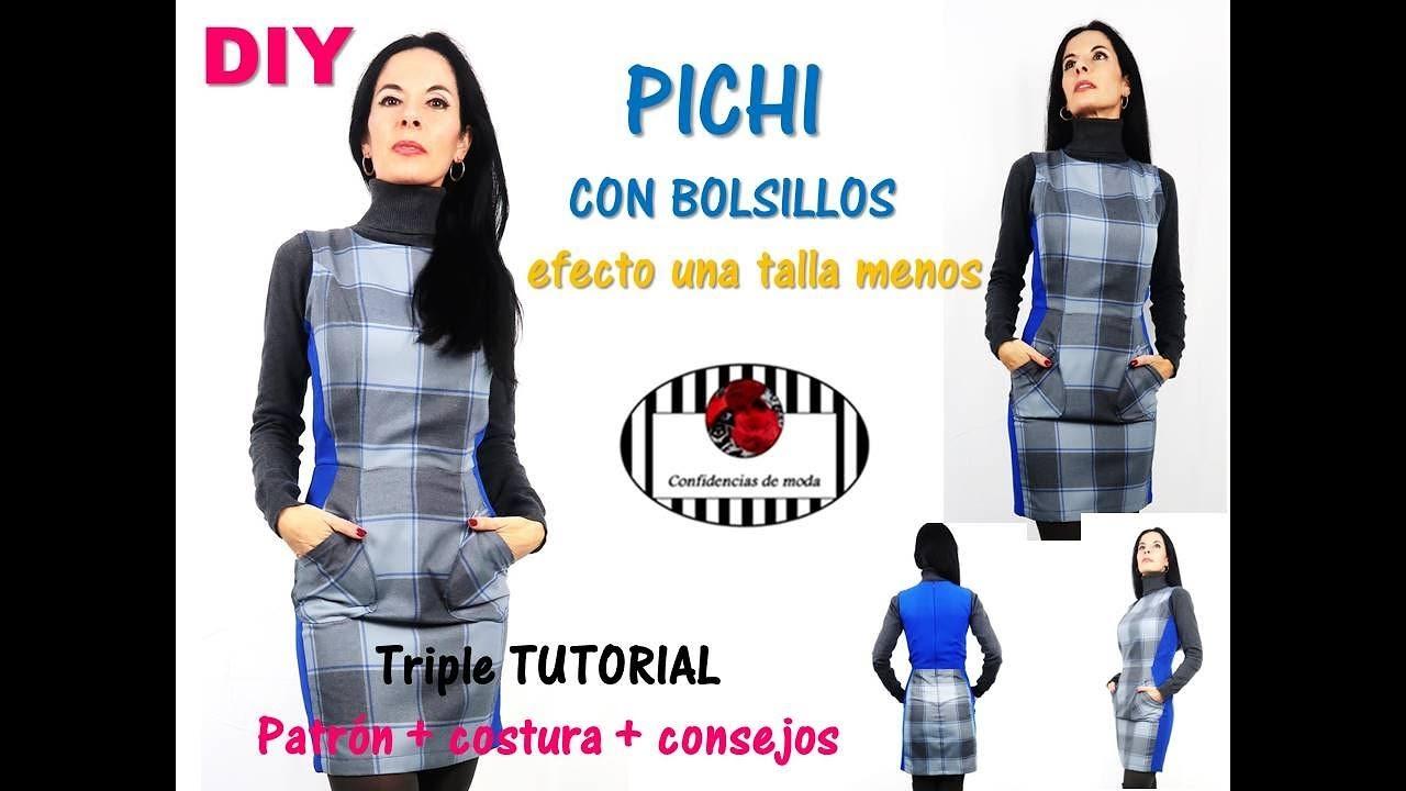 DIY. Pichi (jumper) con bolsillos efecto una talla menos. Patrones ...
