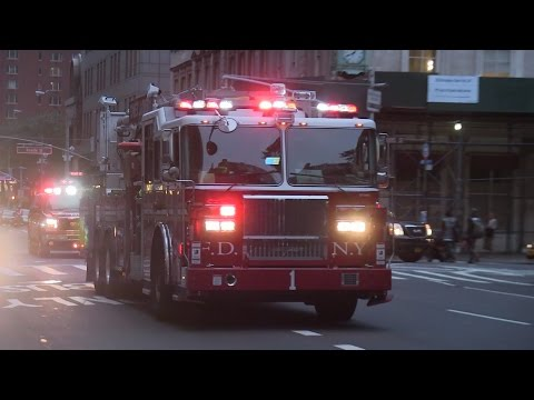 Engine 7 + Tower Ladder 1 + Battalion 1 - FDNY...