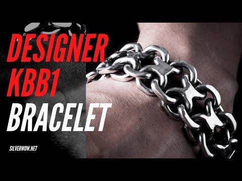 Chunky Thick Mens Silver Bracelet  ( Figure 8 Design )