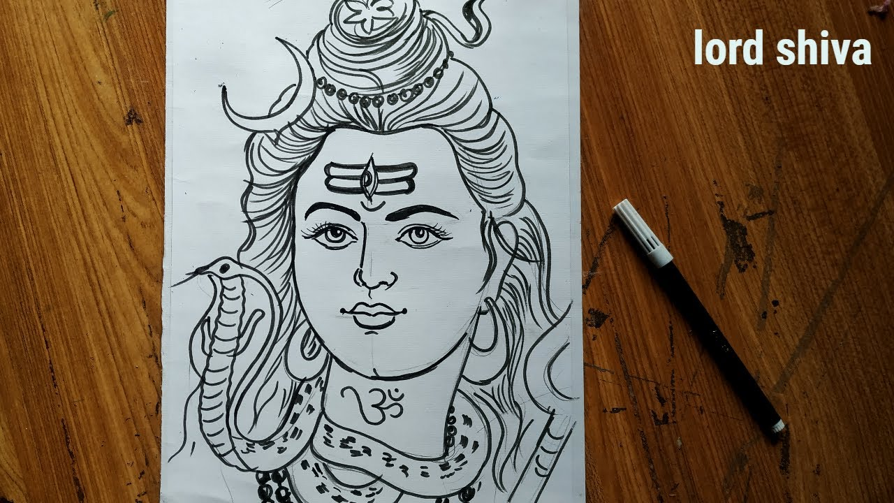 Very Easy Line Art Shiv Thakur How To Draw Lord Shiva With Snake