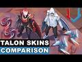 All Talon Skins Comparison Blood Moon, Dragonblade, SSW, Renegade, Crimson Elite (League of Legends)