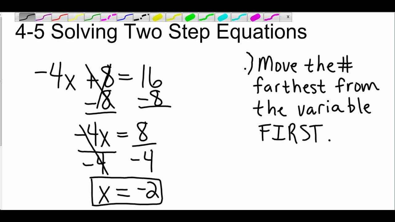 Pre Algebra 4 5 Solving Two Step Equations
