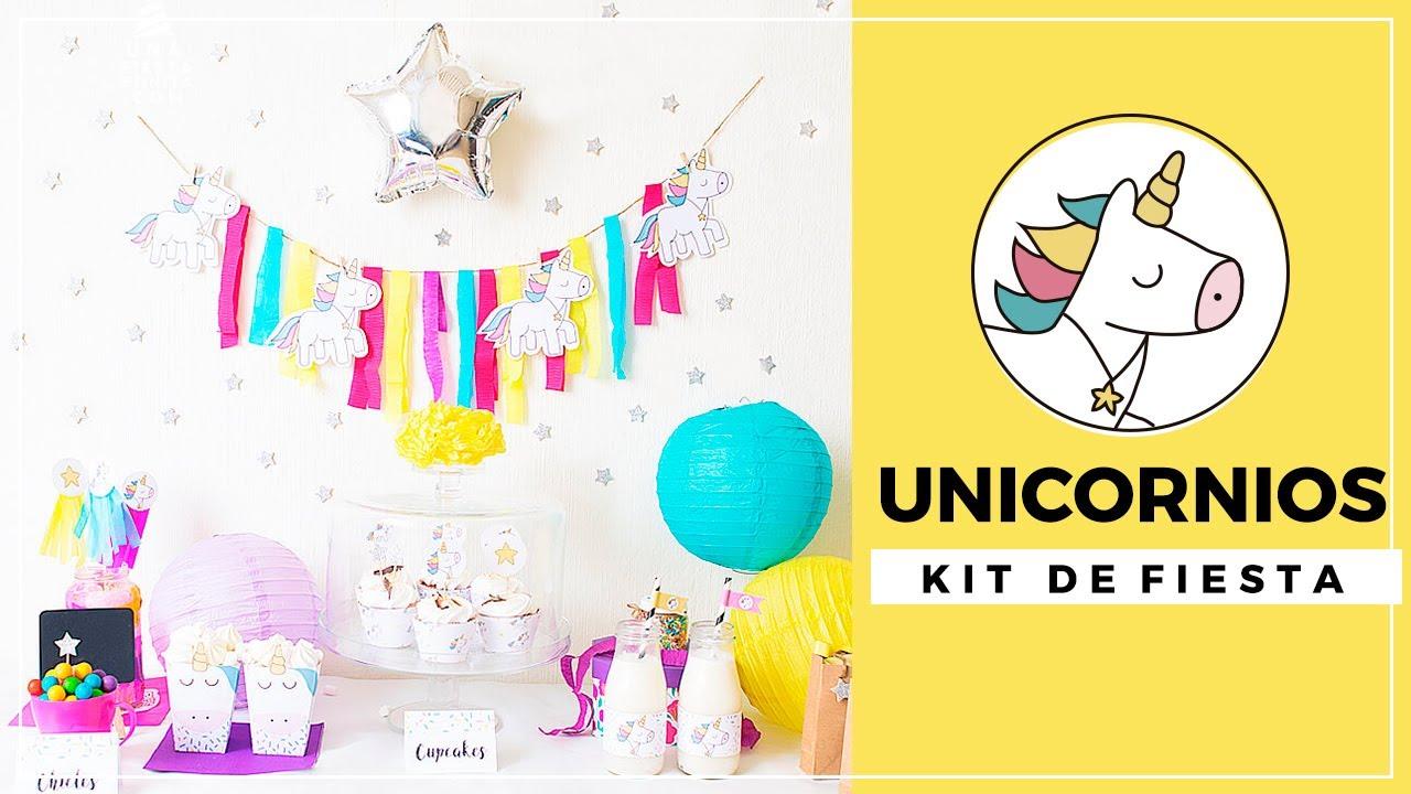 Fiesta De Cumpleanos Unicornios Kit De Fiesta Para Imprimir