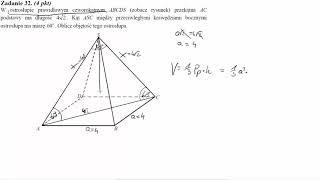 W ostrosłupie prawidłowym czworokątnym ABCDS zobacz rysunek przekątna AC podstawy ma długość 4√2  Ką