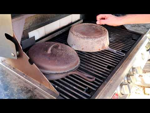 RESTORING CAST IRON COOKWEAR ON THE OUTDOOR GRILL