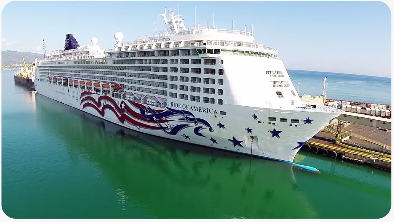 Aerial Drone Footage Of Norwegian Cruise Ship The Pride
