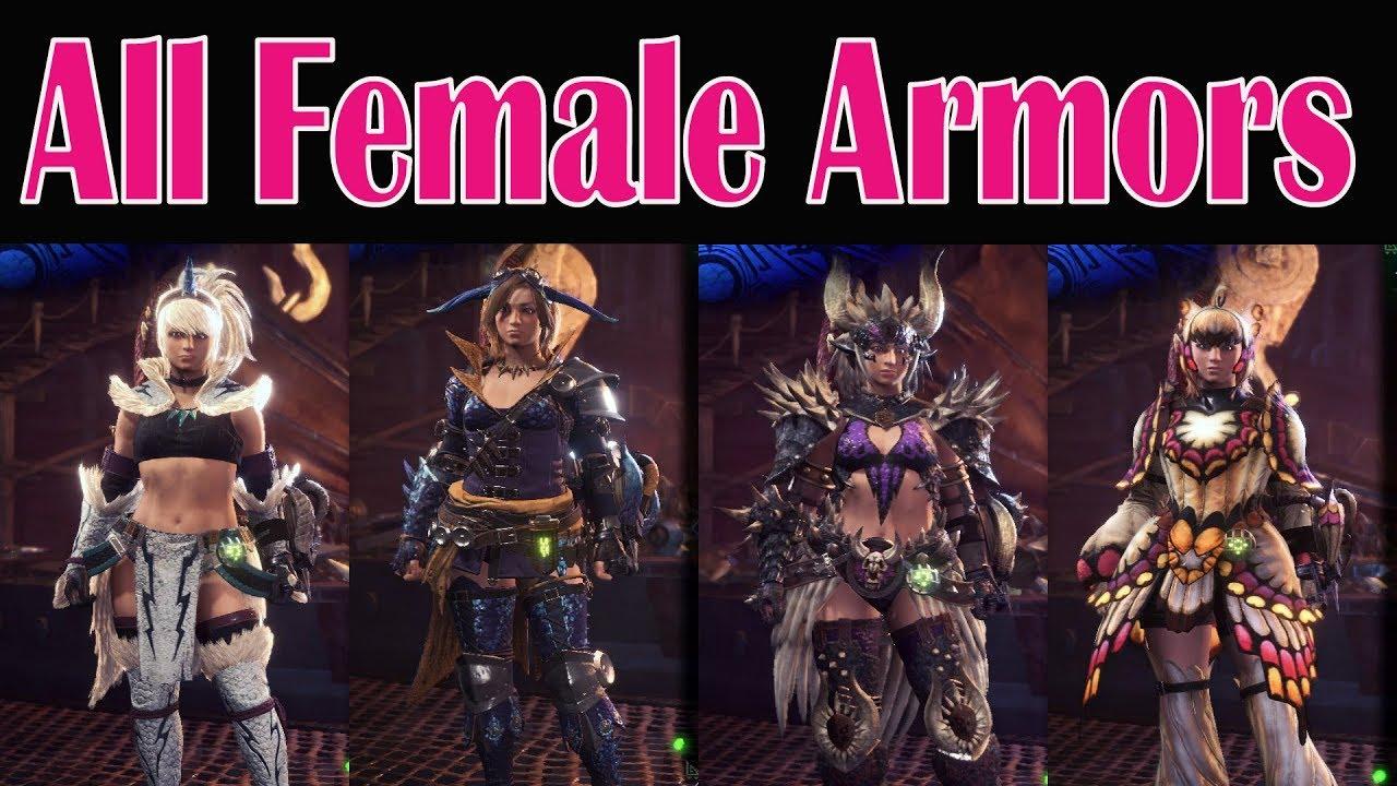 Monster Hunter World All Female Armors Showcased Youtube