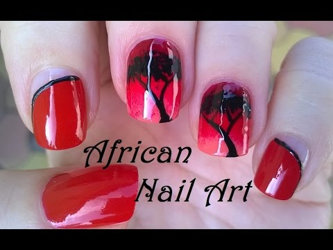 African Nail Art Design - Red Ombre Nails Tutorial With Sponge