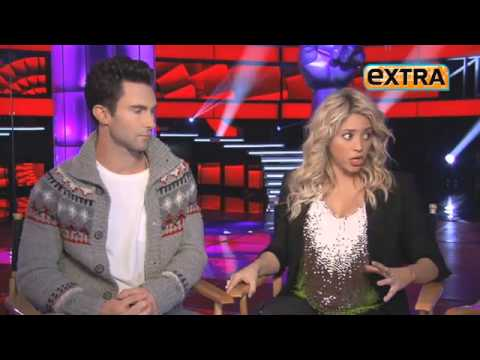 Shakira interviewed with Adam Levine from Maroon 5 for the voice promos