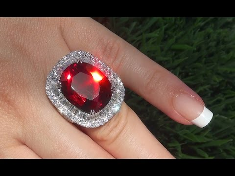 GIA Certified 28.33 ct FLAWLESS Pyrope Garnet Diamond 18k White Gold Vintage Ring - A141477