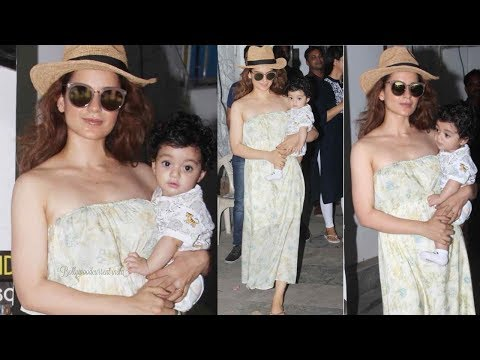 Kangana Ranaut looks lovely with her cute baby boy Prithvi