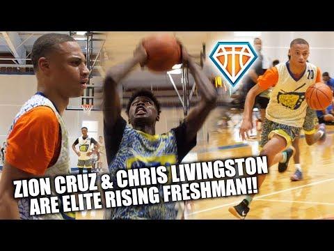 ELITE FRESHMAN Zion Cruz vs Chris Livingston TRADE BUCKETS at D-Rich TV Camp!!