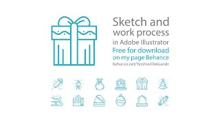 Speed art - Christmas line icons in Adobe Illustrator (#34\5)