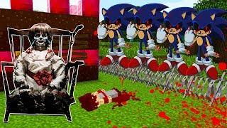 BEBE GOKU EVIL MORRE AO PROTEGER ANNABELLE DE UM APOCALIPSE DE SONIC EXE NO MINECRAFT