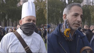Hospitality workers protest in Parliament Square against Covid-19 restrictions