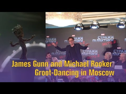 James Gunn and Michael Rooker Groot-Dancing in Moscow