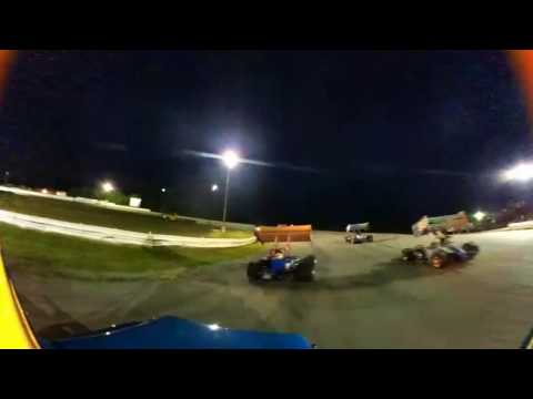Pushing the supermodified feature, Sandusky speedway 7-30-16