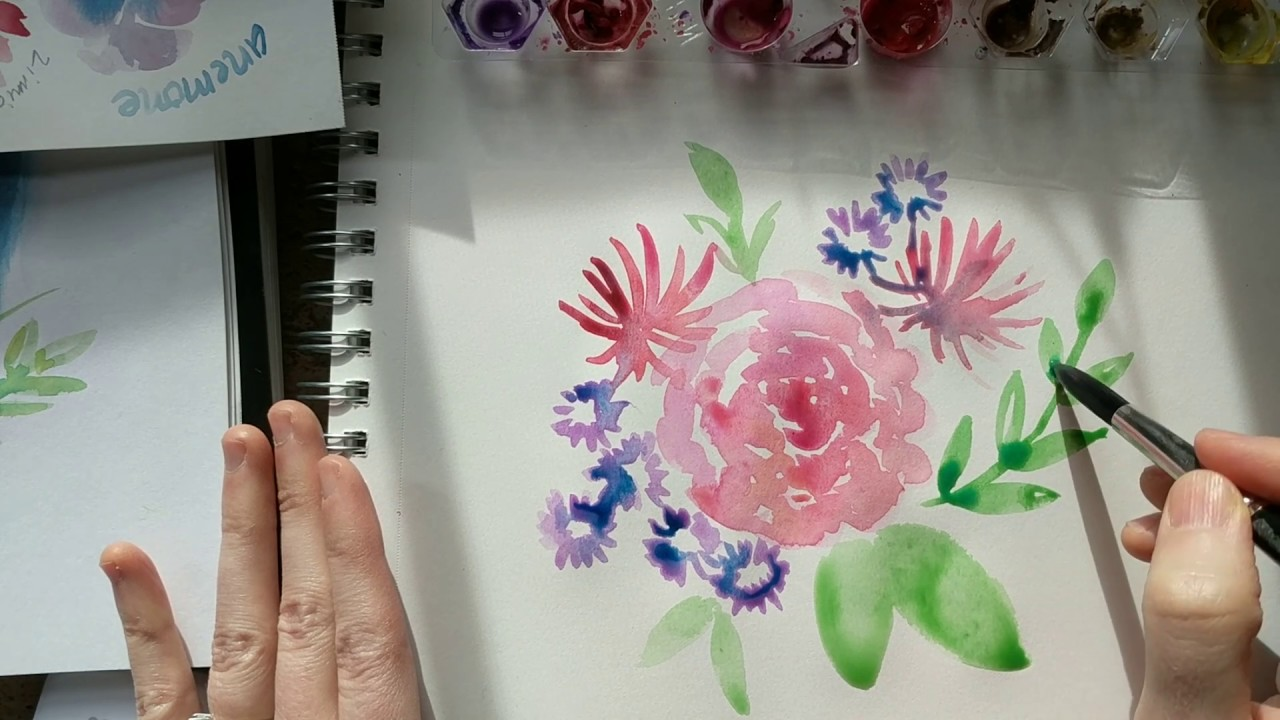 photo relating to Free Printable Watercolor Pictures to Paint known as Paint with me! Spring floral watercolor guidebook (+ no cost printable template upon the weblog)