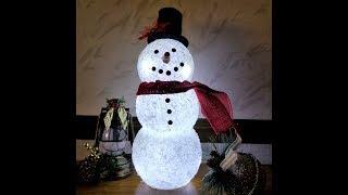 DIY Lighted Epsom Salt Snowman made with Dollar Tree glass candleholders