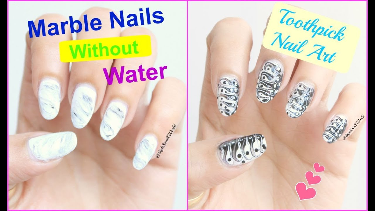 2 marble nail art design without using water easy nail art for 2 marble nail art design without using water easy nail art for beginners toothpick art youtube prinsesfo Images