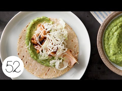 Grilled Salmon Tacos with Avocado Sauce
