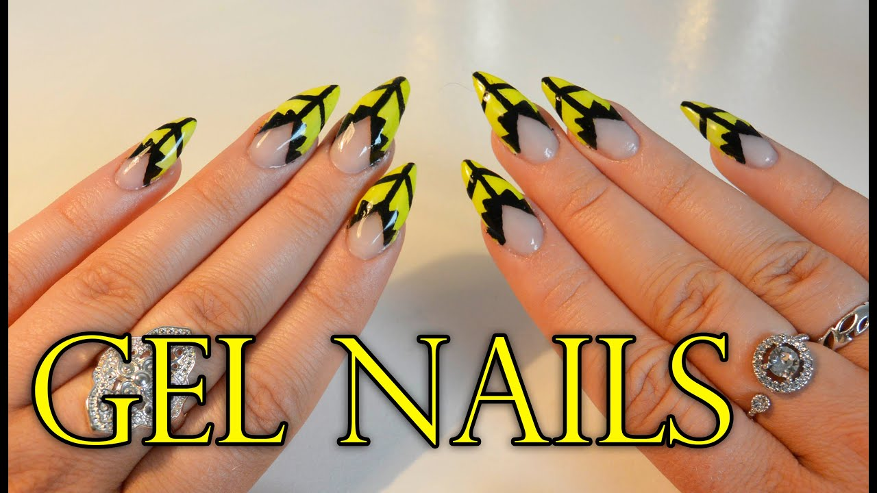 How to make gel nails - yellow and black - YouTube
