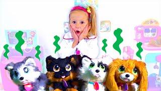 Stacy juega en una clínica de mascotas