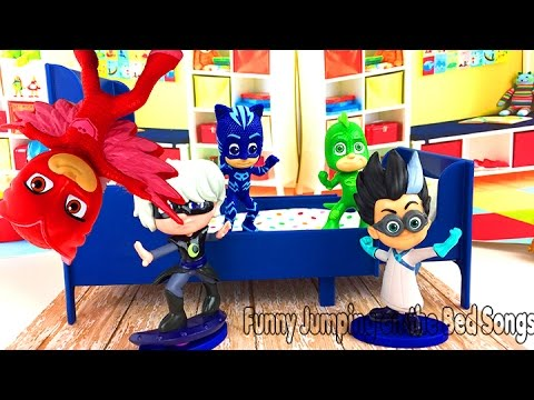 PJ MASKS 5 Five LITTLE Jumping on the BED TOP COLLECTION Nursery Rhymes Song