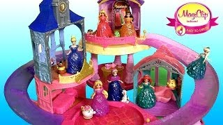 New Glitter Glider Castle Playset 7 Disney Princess Magiclip Dolls Flip 'n Switch By Funtoys