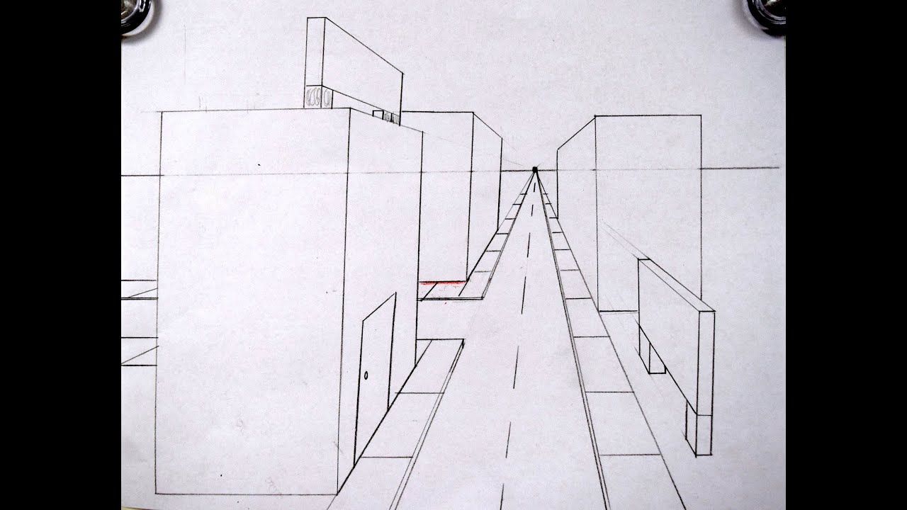 One-Point Perspective Streetscape - YouTubeEasy One Point Perspective Drawing