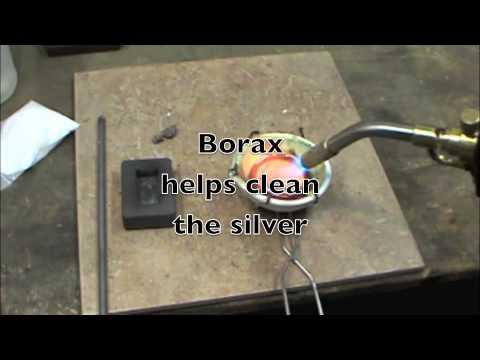 Smelting silver into a bar